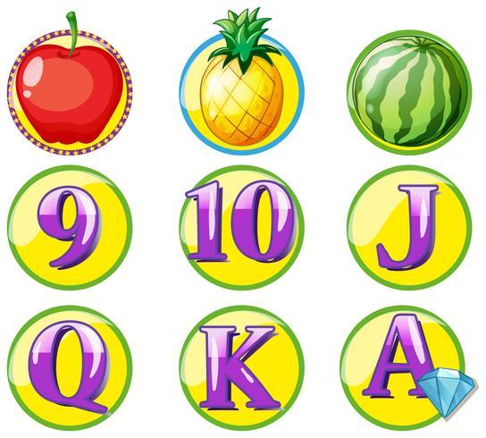 Token di gioco con frutta e numeri
