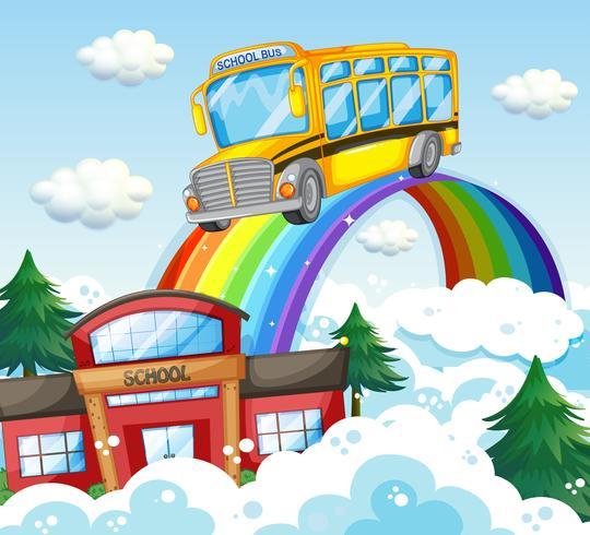 Ônibus escolar andando sobre o arco-íris vetor