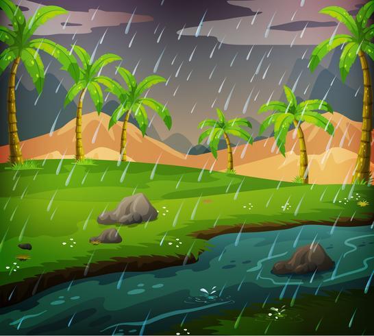 Aardscène met regenachtige dag op het gebied