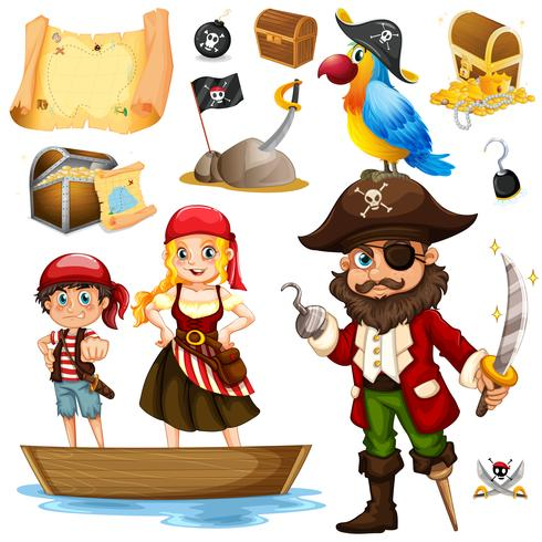 Pirate and crew on ship vector