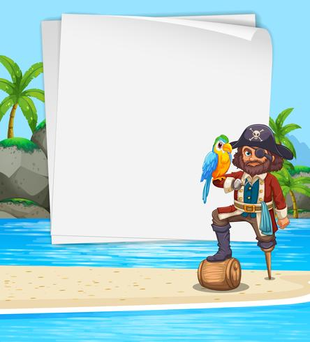 Design de fronteira com pirata na praia