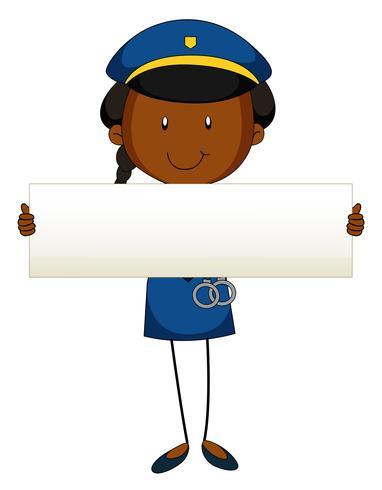 Officier de police tenant une pancarte blanche