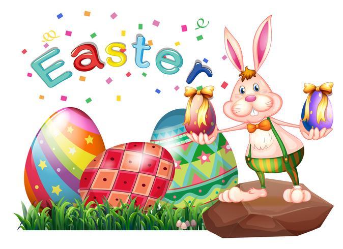 Un coniglio sopra la roccia con le uova di Pasqua vettore