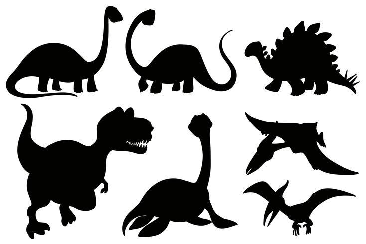 Silhouetdinosaurussen op witte achtergrond