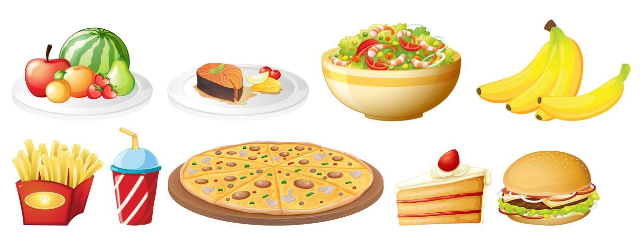 Een reeks van voedsel op witte achtergrond