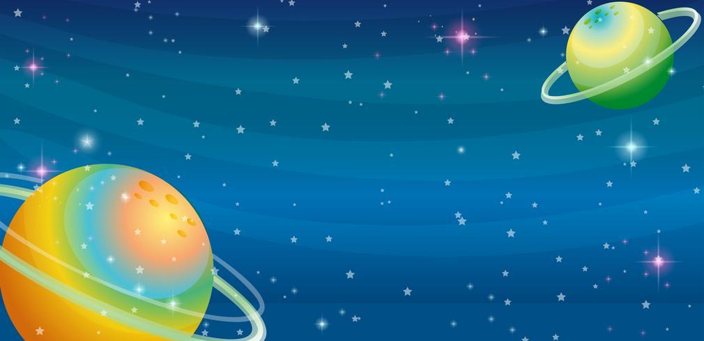 Scène de l'espace avec deux planètes vecteur