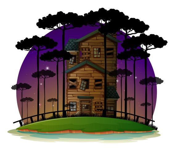 Scène avec maison hantée la nuit