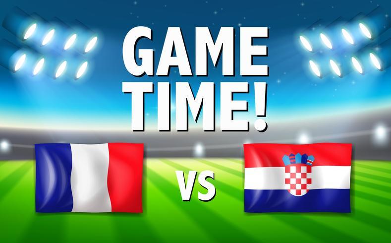 Spielzeit Frankreich gegen Kroatien vektor