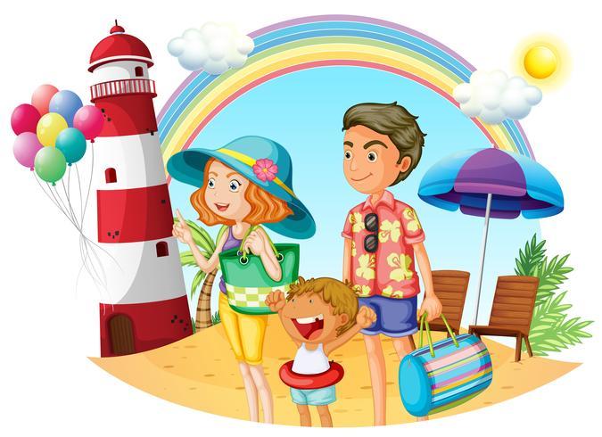 Uma família na praia com um farol vetor