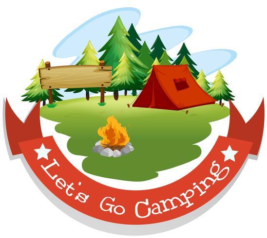 Diseño de banner con tema de camping.