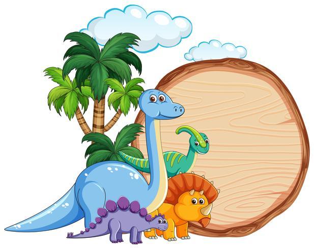 Beaucoup de dinosaures sur une bannière en bois vecteur