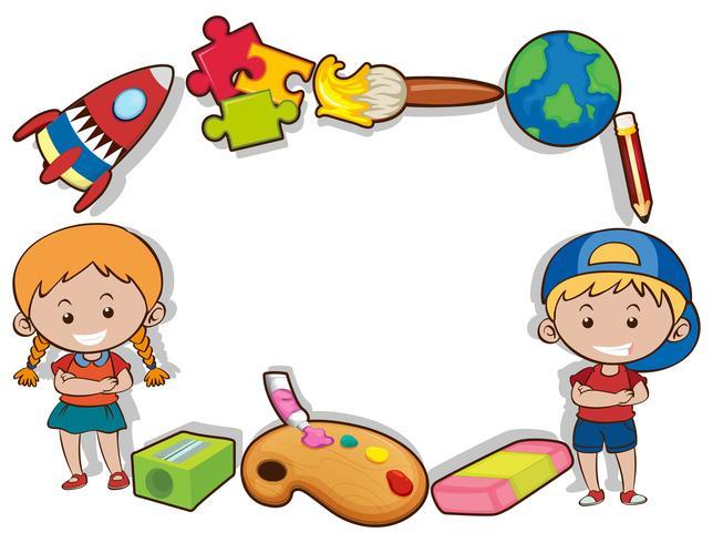 Grenzentwurf mit glücklichen Kindern und Spielwaren
