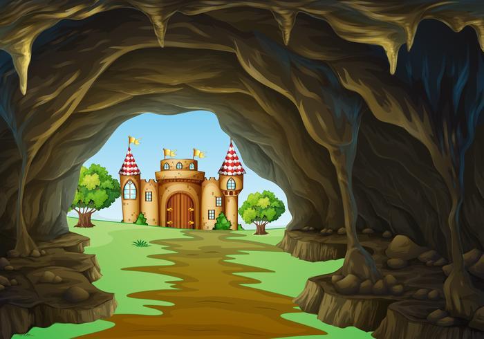 Regno lontano con castello e grotta