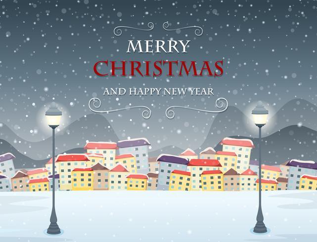 Merry Christmas themed winter scene