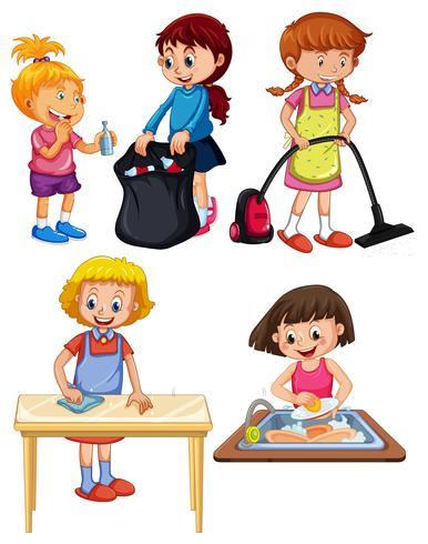 Crianças fazendo trabalhos domésticos em fundo branco vetor