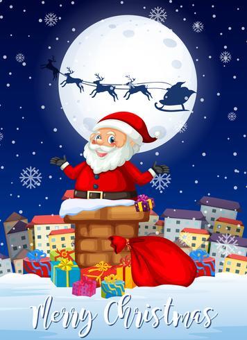 Merry Chritmas santa and presents card