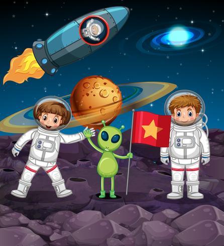 Utrymme tema med två astronauter och främling med flagga