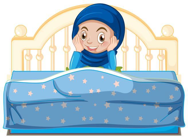 A young muslim girl in bed