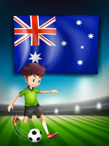 Bandera de Australia y jugador de fútbol.