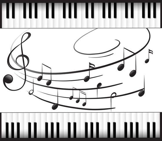 Plantilla de fondo con teclado de piano y notas musicales vector