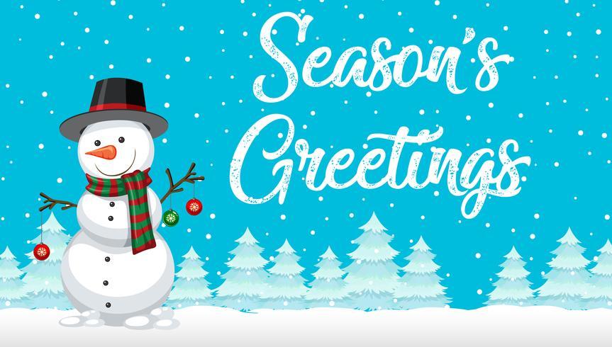 Saluti di stagione carta del pupazzo di neve vettore