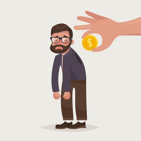 Mano sosteniendo la moneda insertando en la parte posterior del empresario vector