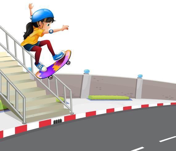 Menina, tocando, skatebaord, rua