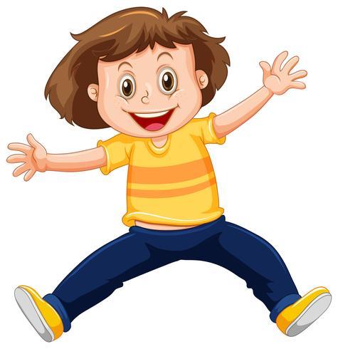 Een gelukkige jongen op witte achtergrond vector