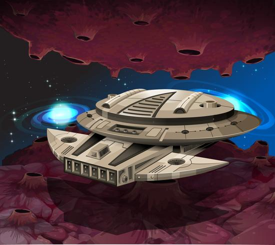 Round spaceship flying in the galaxy