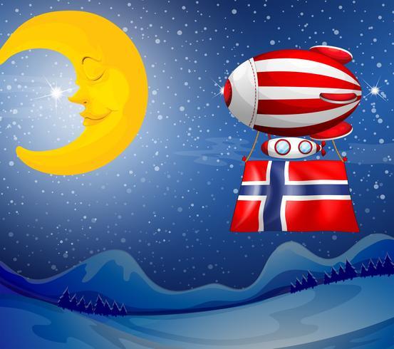 Un ballon flottant avec le drapeau de la Norvège vecteur