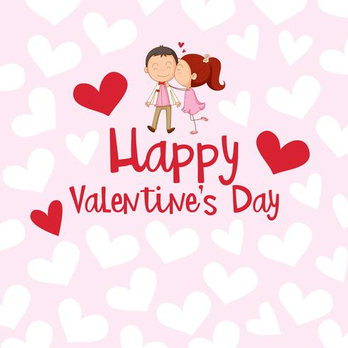 Valentine card template with girl kissing boy