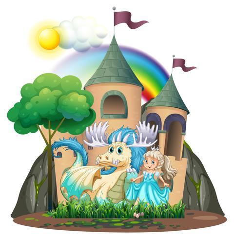 Prinses en beest bij het kasteel vector