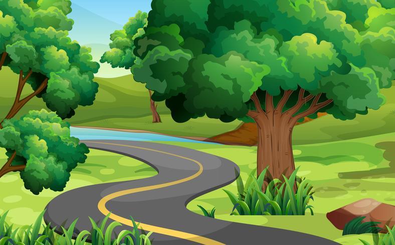 Vägen mitt i parken vektor