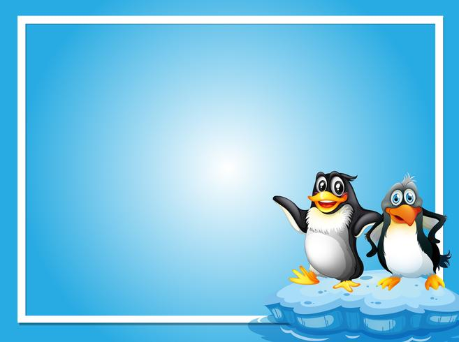 Frame template with two penquins