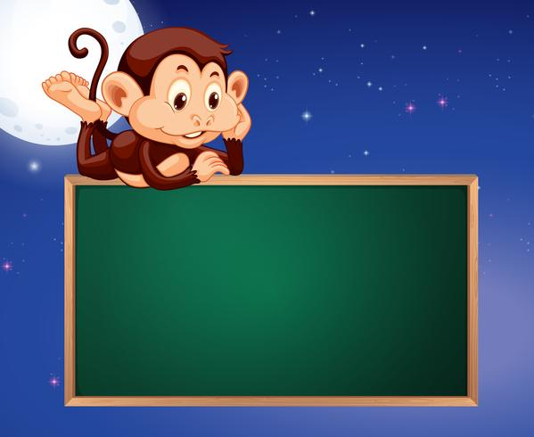 Monkey on blackboard frame night sky background