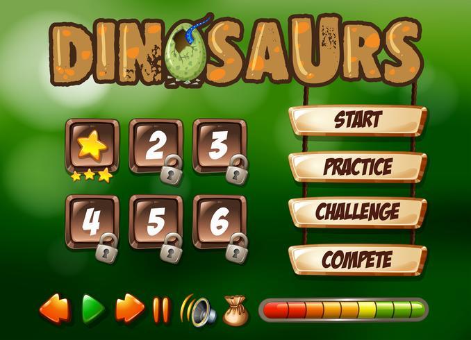 Dinosaurussen Game Template Startpagina vector