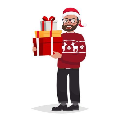 Homme portant un pull et un chapeau de Noël vecteur