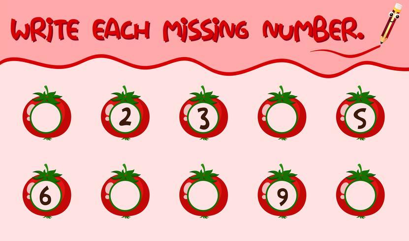 Schrijf elk ontbrekend nummer werkblad vector