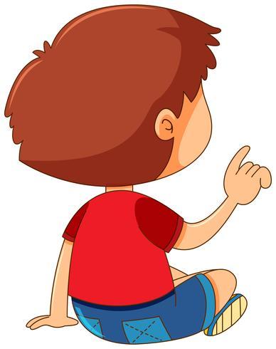 Achterkant van de jongen wijzende vinger