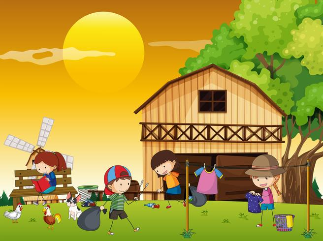 Niños haciendo diferentes tareas en la granja.