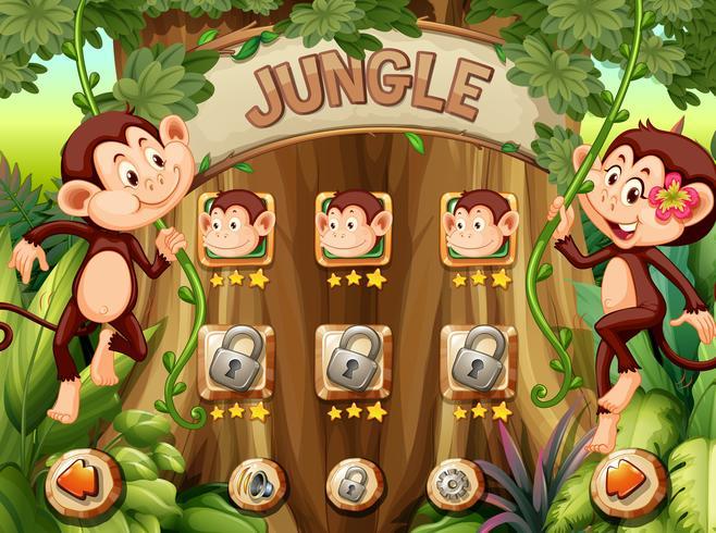 Plantilla de juego mono selva