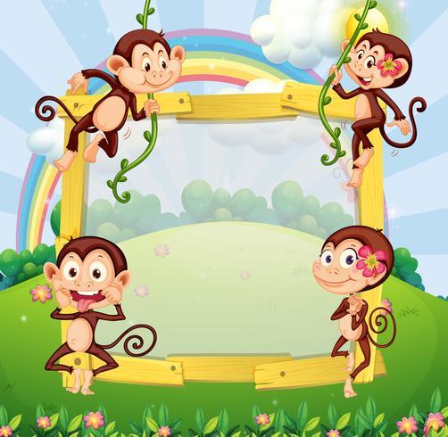 Progettazione del confine con le scimmie nel parco vettore