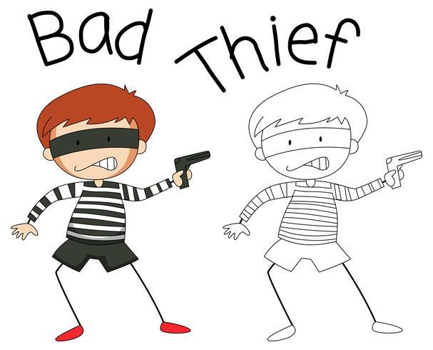 Doodle personaggio cattivo ladro vettore