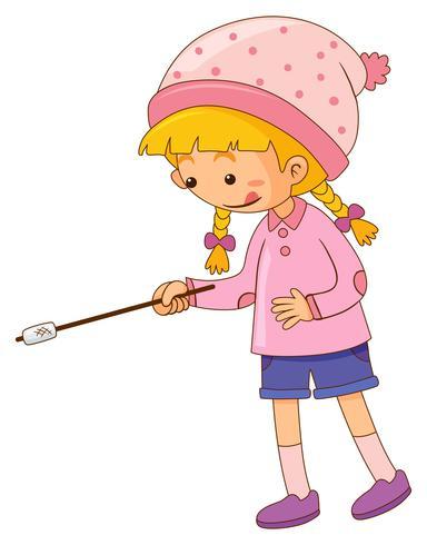 Meisje met marshmallow op stok
