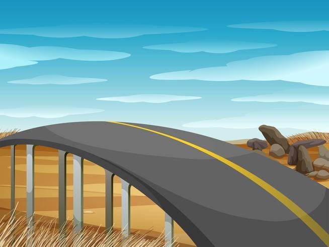 Carretera vacía sobre el campo