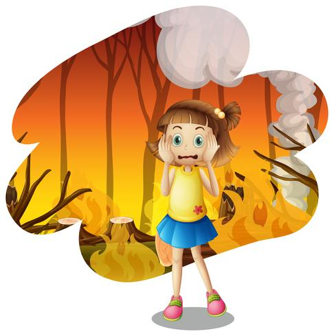 A young girl scare of wildfire vector