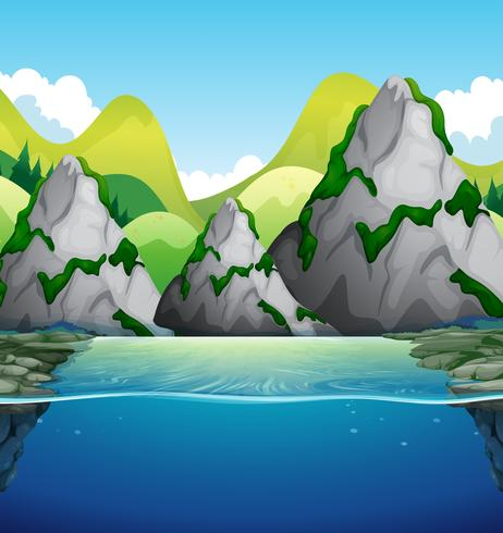 Nature scene with mountain and lake