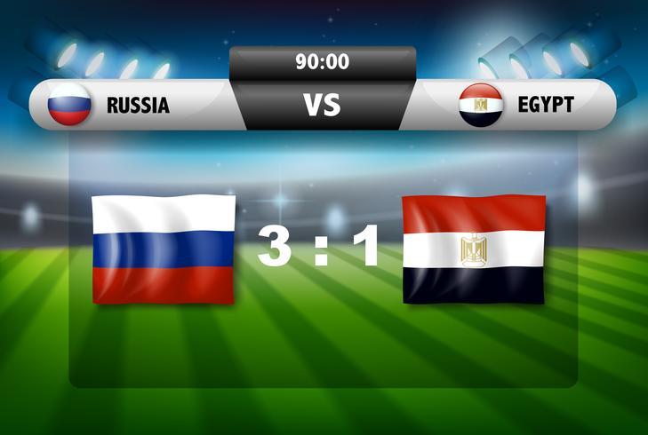 Rusland versus Egypte scorebord vector