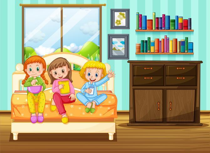 Tre bambini che mangiano merenda sul letto vettore