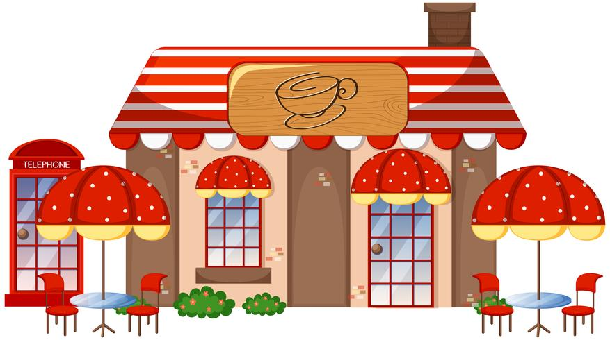 A coffee shop on white background vector
